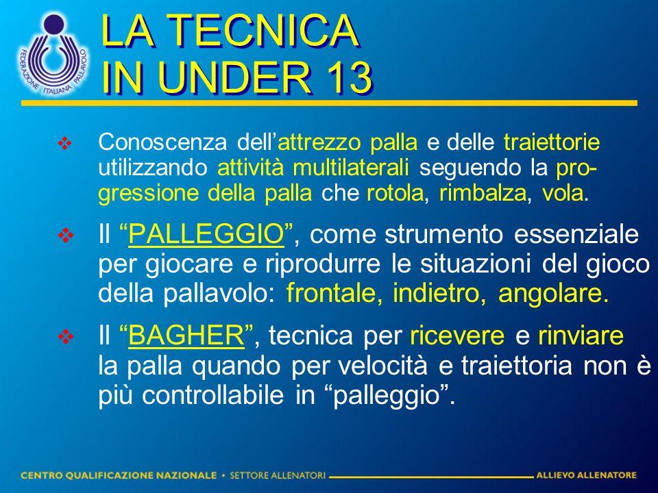 LA TECNICA IN UNDER 13 Conoscenza dellattrezzo palla e delle traiettorie utilizzando attività multilaterali seguendo la pro- gressione della palla che