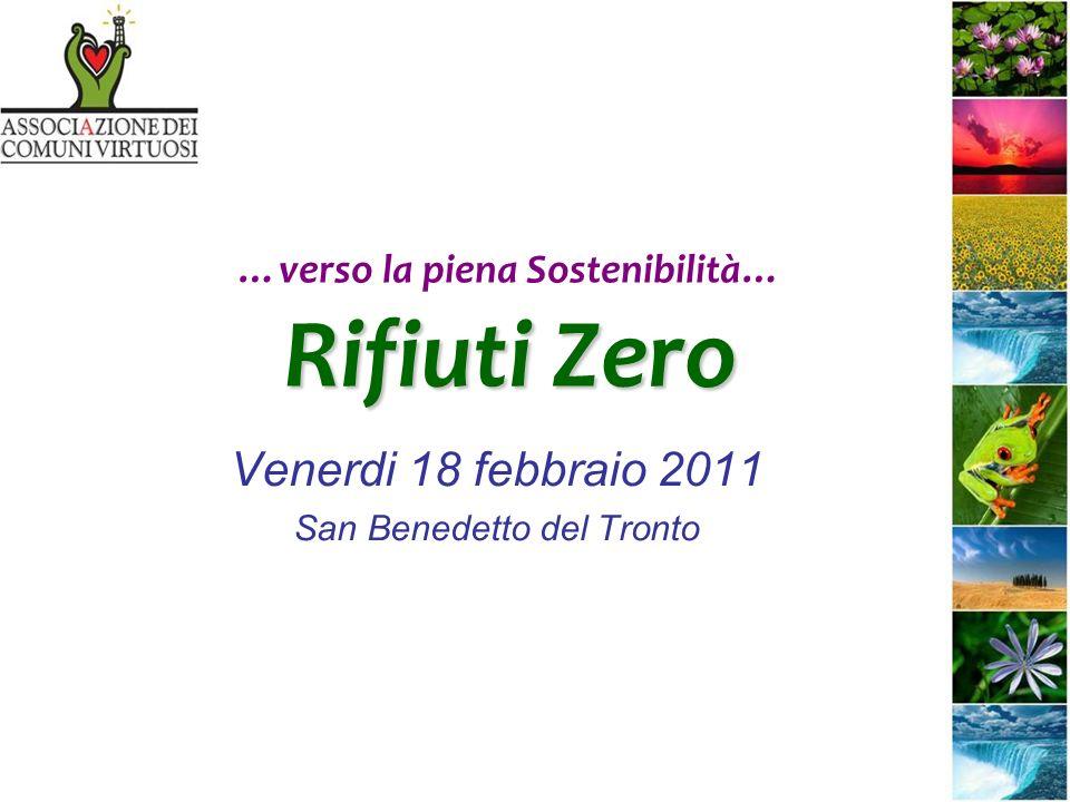 Rifiuti Zero …verso la piena Sostenibilità… Rifiuti Zero Venerdi 18 febbraio 2011 San Benedetto del Tronto