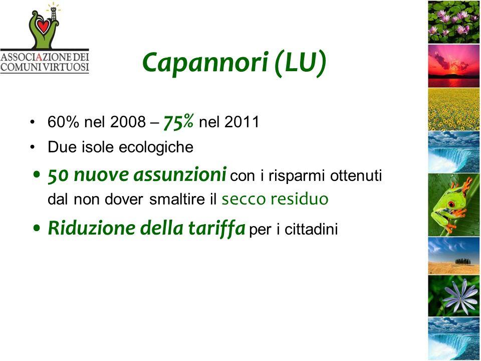Capannori (LU) 60% nel 2008 – 75% nel 2011 Due isole ecologiche 50 nuove assunzioni con i risparmi ottenuti dal non dover smaltire il secco residuo Riduzione della tariffa per i cittadini