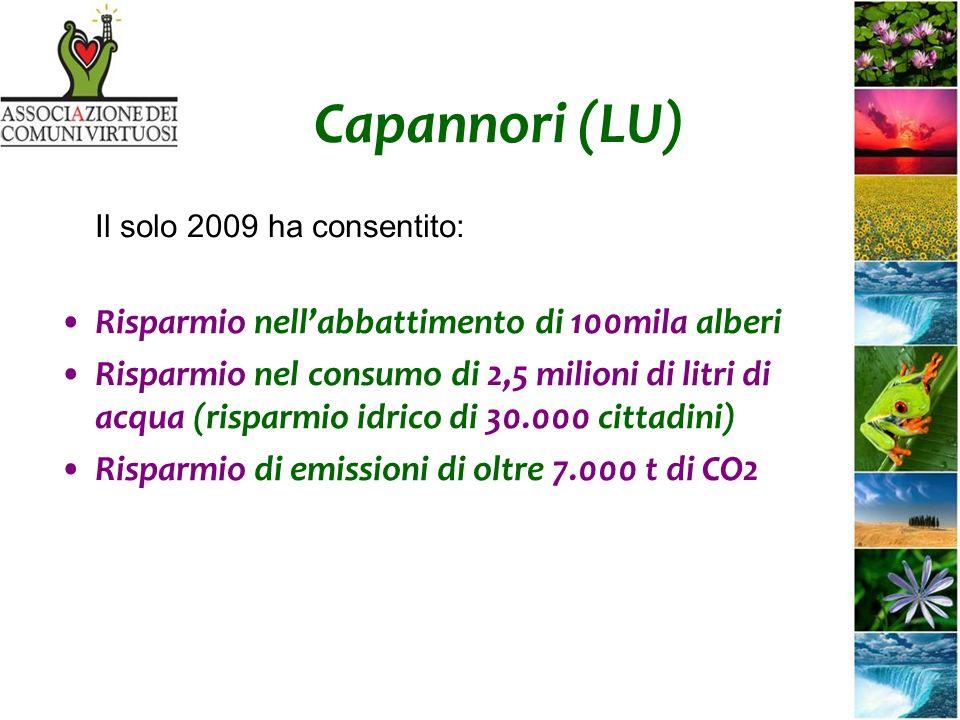 Capannori (LU) Il solo 2009 ha consentito: Risparmio nellabbattimento di 100mila alberi Risparmio nel consumo di 2,5 milioni di litri di acqua (risparmio idrico di 30.000 cittadini) Risparmio di emissioni di oltre 7.000 t di CO2