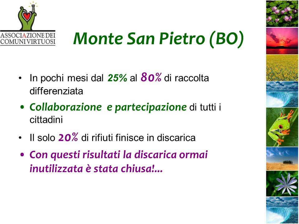 Monte San Pietro (BO) In pochi mesi dal 25% al 80% di raccolta differenziata Collaborazione e partecipazione di tutti i cittadini Il solo 20% di rifiuti finisce in discarica Con questi risultati la discarica ormai inutilizzata è stata chiusa!...