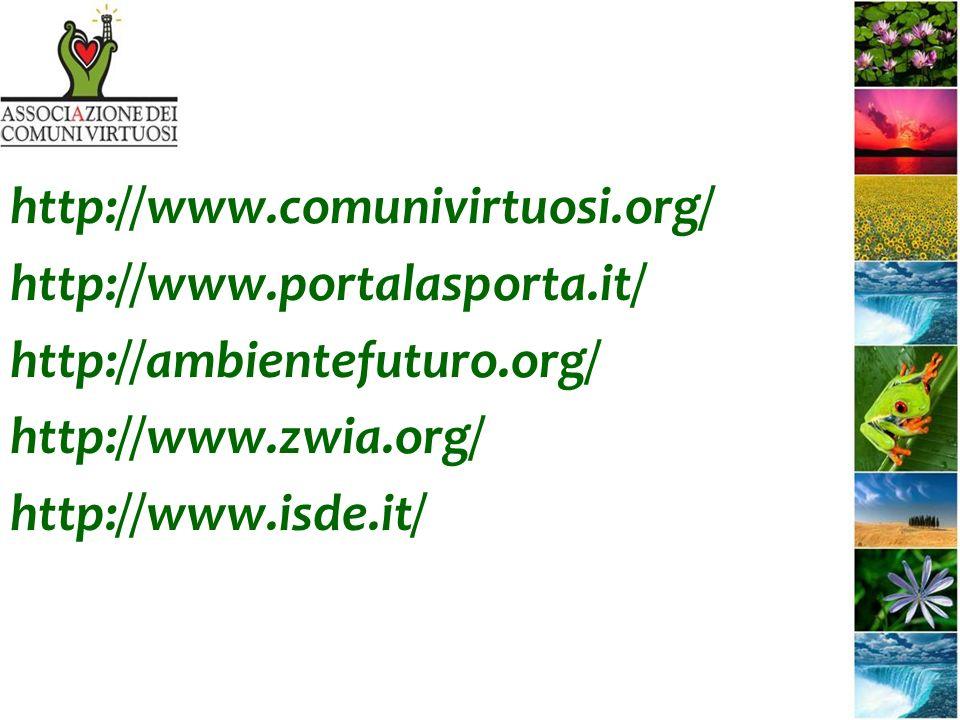 http://www.comunivirtuosi.org/ http://www.portalasporta.it/ http://ambientefuturo.org/ http://www.zwia.org/ http://www.isde.it/