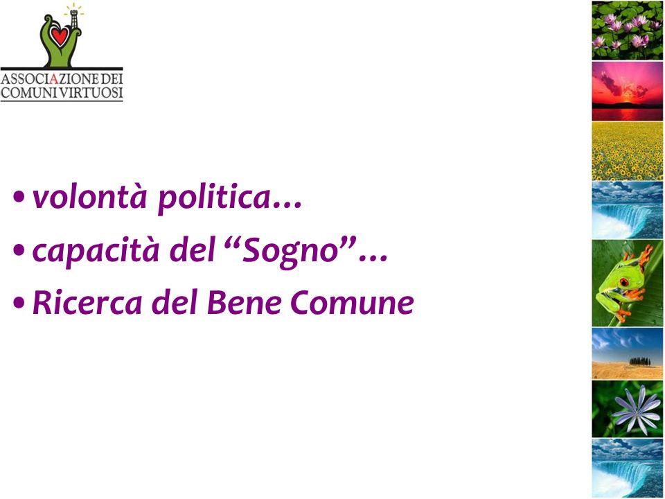 volontà politica… capacità del Sogno… Ricerca del Bene Comune