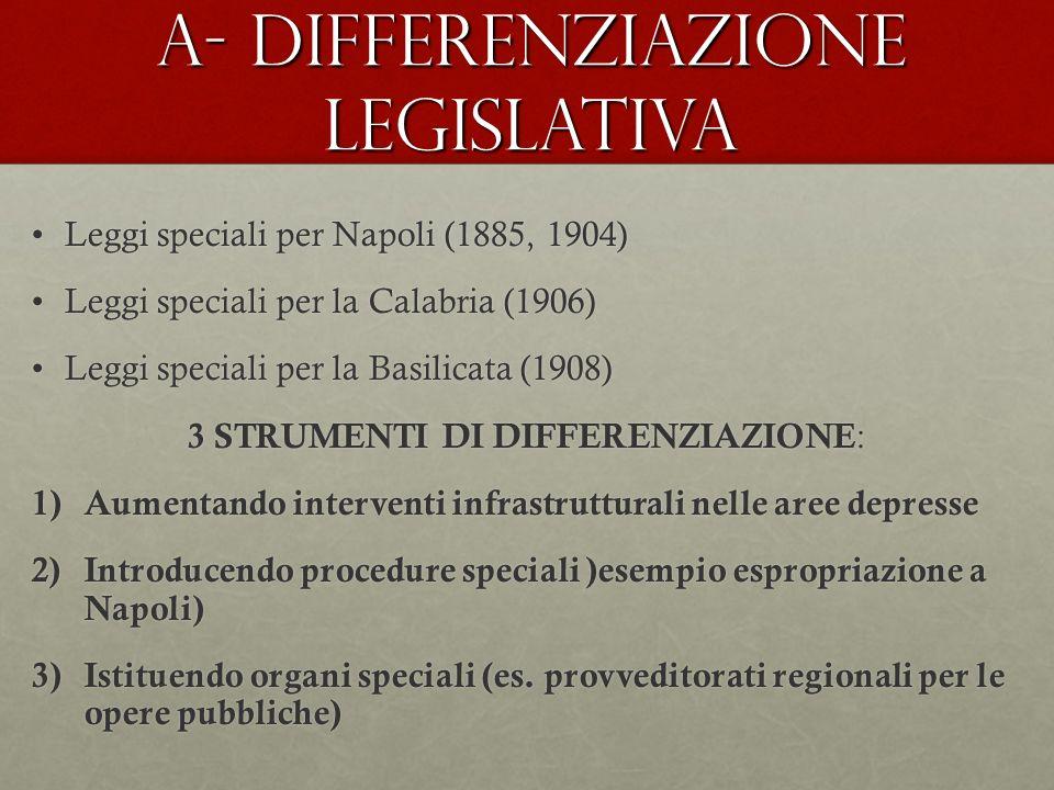 A- DIFFERENZIAZIONE LEGISLATIVA Leggi speciali per Napoli (1885, 1904)Leggi speciali per Napoli (1885, 1904) Leggi speciali per la Calabria (1906)Legg