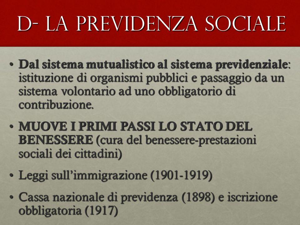 D- LA PREVIDENZA SOCIALE Dal sistema mutualistico al sistema previdenziale : istituzione di organismi pubblici e passaggio da un sistema volontario ad