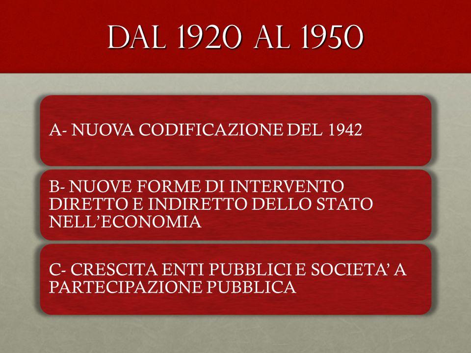 DAL 1920 AL 1950 A- NUOVA CODIFICAZIONE DEL 1942 B- NUOVE FORME DI INTERVENTO DIRETTO E INDIRETTO DELLO STATO NELLECONOMIA C- CRESCITA ENTI PUBBLICI E
