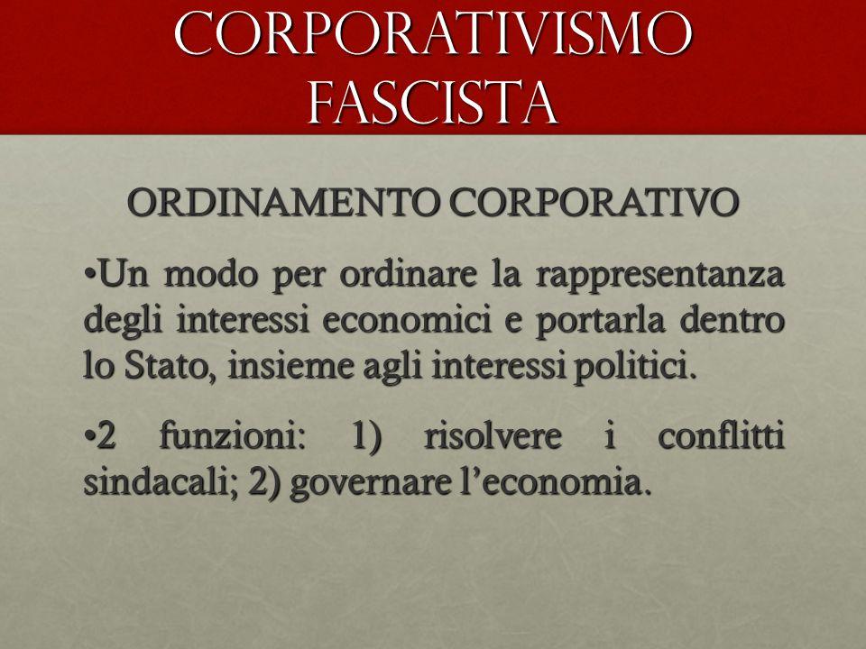 CORPORATIVISMO FASCISTA ORDINAMENTO CORPORATIVO Un modo per ordinare la rappresentanza degli interessi economici e portarla dentro lo Stato, insieme a