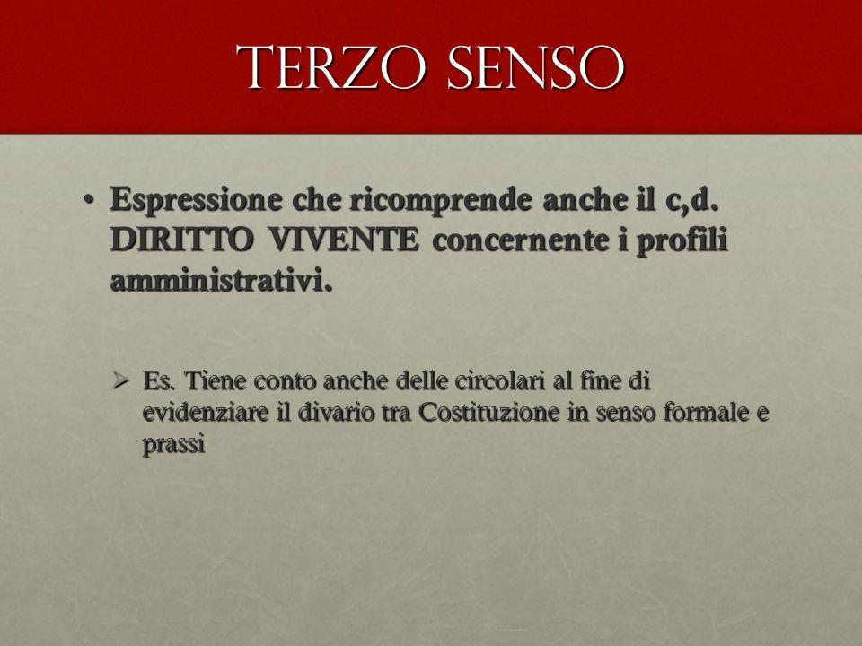 Terzo senso Espressione che ricomprende anche il c,d. DIRITTO VIVENTE concernente i profili amministrativi. Espressione che ricomprende anche il c,d.