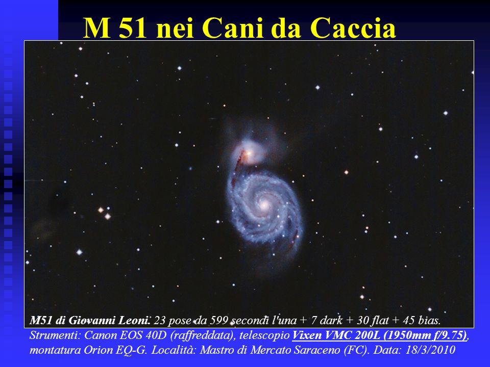 M 51 nei Cani da Caccia M51 di Giovanni Leoni. 23 pose da 599 secondi l'una + 7 dark + 30 flat + 45 bias. Strumenti: Canon EOS 40D (raffreddata), tele