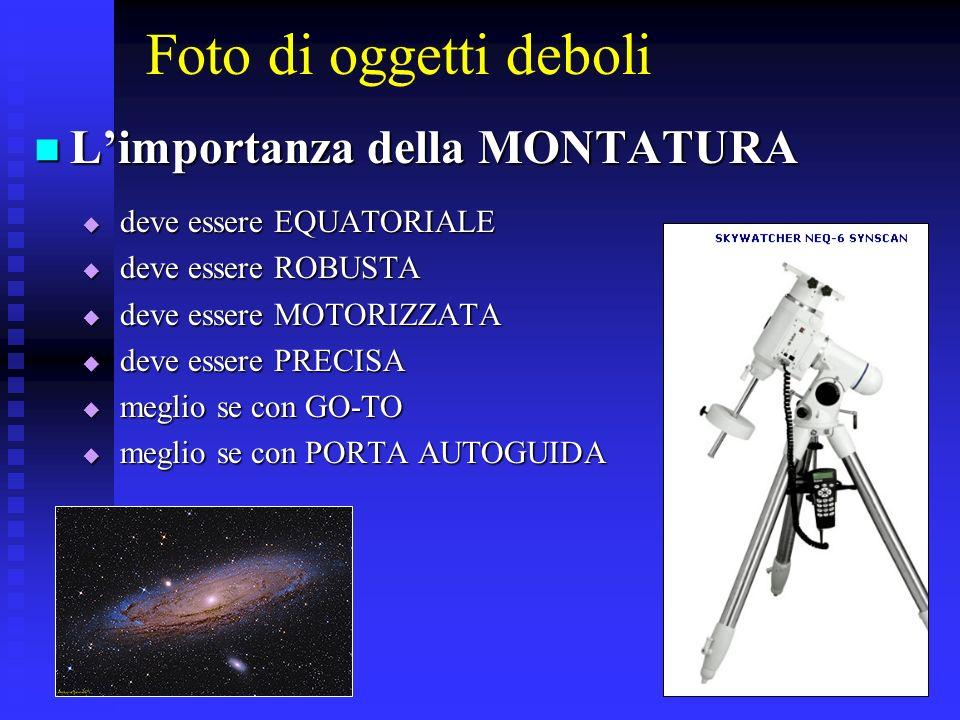 Foto di oggetti deboli Limportanza della MONTATURA Limportanza della MONTATURA deve essere EQUATORIALE deve essere EQUATORIALE deve essere ROBUSTA dev
