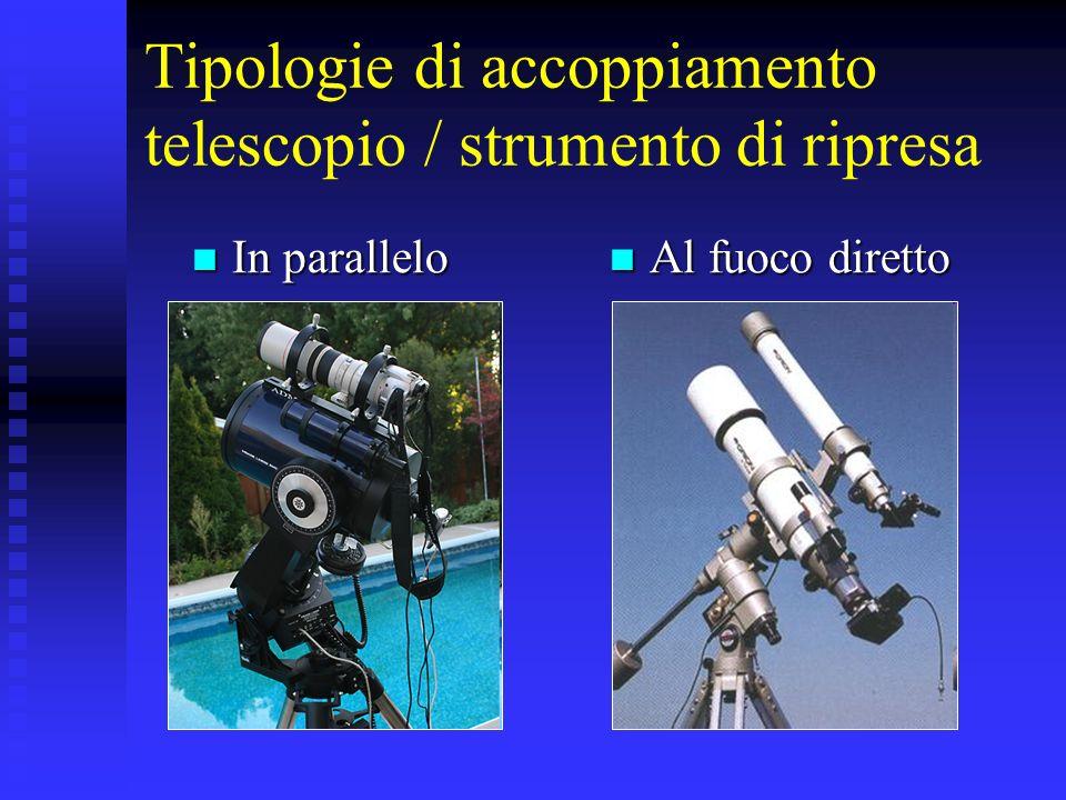Tipologie di accoppiamento telescopio / strumento di ripresa In parallelo In parallelo Al fuoco diretto Al fuoco diretto