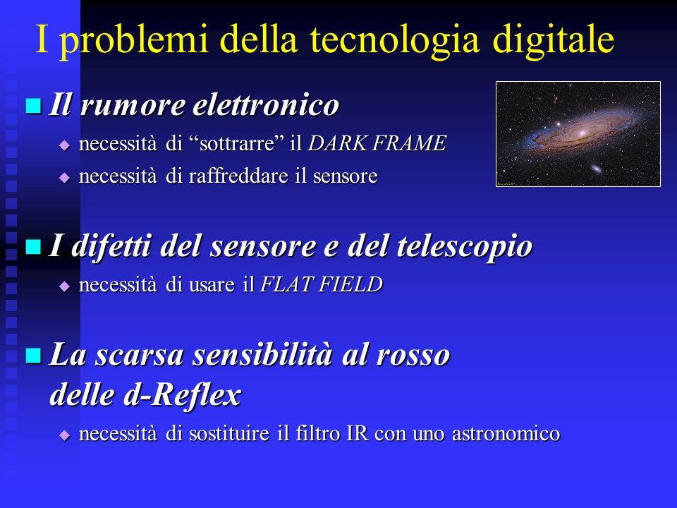 I problemi della tecnologia digitale Il rumore elettronico Il rumore elettronico necessità di sottrarre il DARK FRAME necessità di sottrarre il DARK F