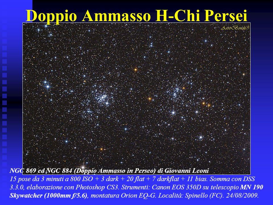 Doppio Ammasso H-Chi Persei NGC 869 ed NGC 884 (Doppio Ammasso in Perseo) di Giovanni Leoni 15 pose da 3 minuti a 800 ISO + 3 dark + 20 flat + 7 darkf