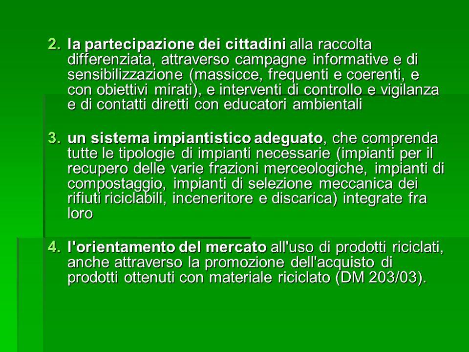 2.la partecipazione dei cittadini alla raccolta differenziata, attraverso campagne informative e di sensibilizzazione (massicce, frequenti e coerenti,