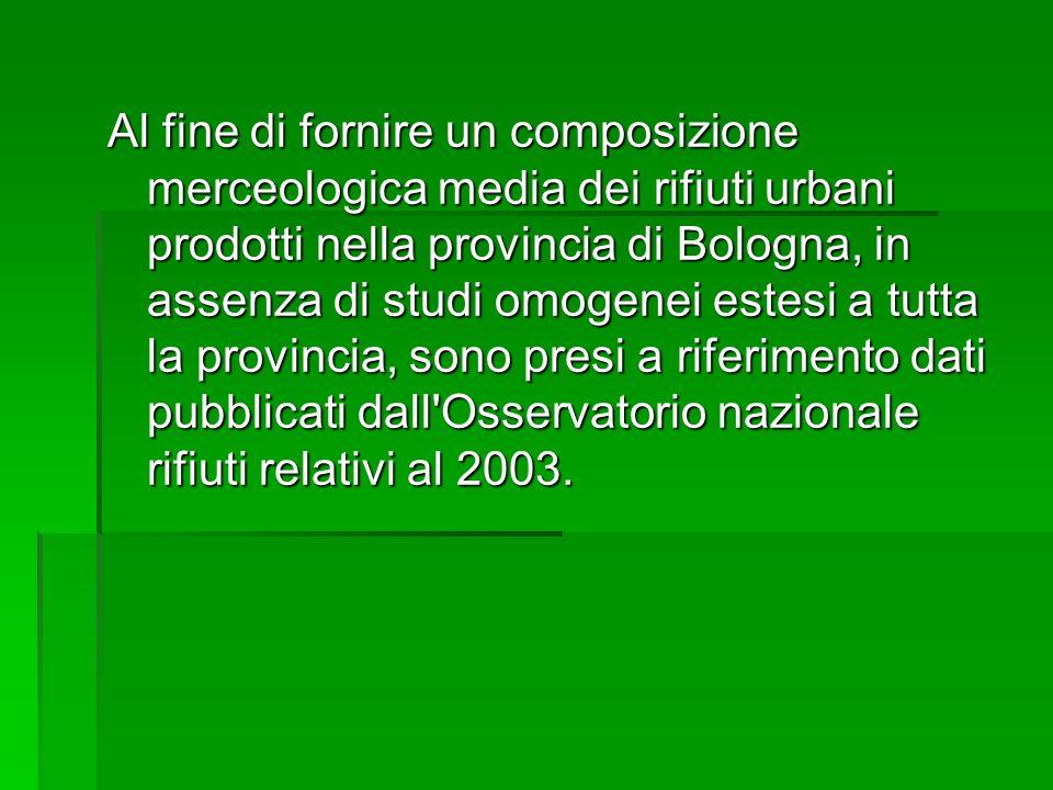 Al fine di fornire un composizione merceologica media dei rifiuti urbani prodotti nella provincia di Bologna, in assenza di studi omogenei estesi a tu