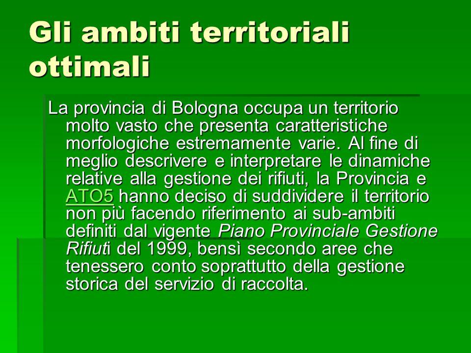 Gli ambiti territoriali ottimali La provincia di Bologna occupa un territorio molto vasto che presenta caratteristiche morfologiche estremamente varie