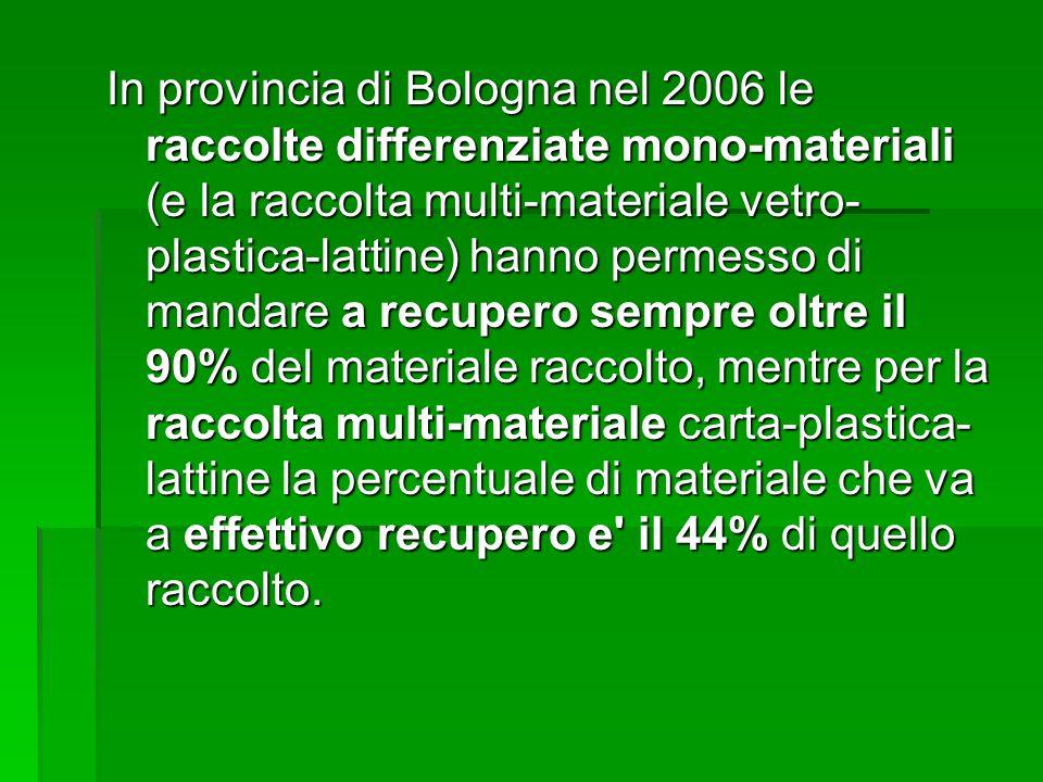 In provincia di Bologna nel 2006 le raccolte differenziate mono-materiali (e la raccolta multi-materiale vetro- plastica-lattine) hanno permesso di ma
