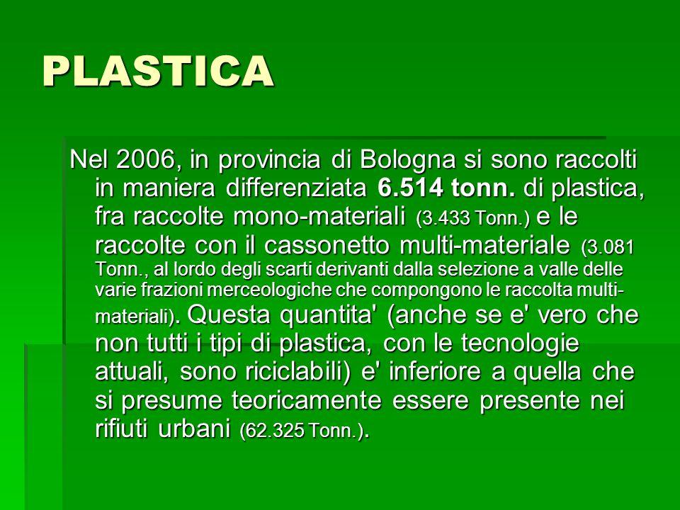 PLASTICA Nel 2006, in provincia di Bologna si sono raccolti in maniera differenziata 6.514 tonn. di plastica, fra raccolte mono-materiali (3.433 Tonn.