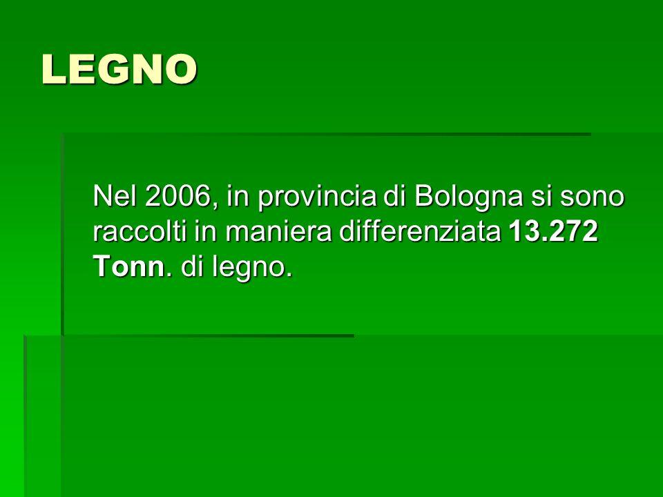 LEGNO Nel 2006, in provincia di Bologna si sono raccolti in maniera differenziata 13.272 Tonn. di legno.