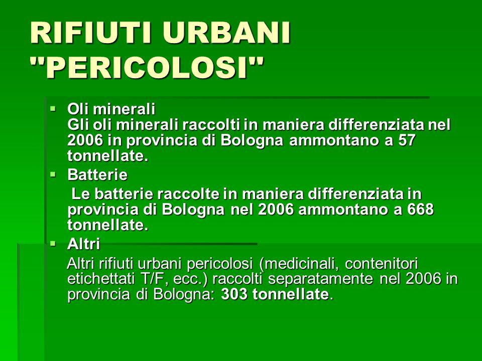 RIFIUTI URBANI ''PERICOLOSI'' Oli minerali Gli oli minerali raccolti in maniera differenziata nel 2006 in provincia di Bologna ammontano a 57 tonnella