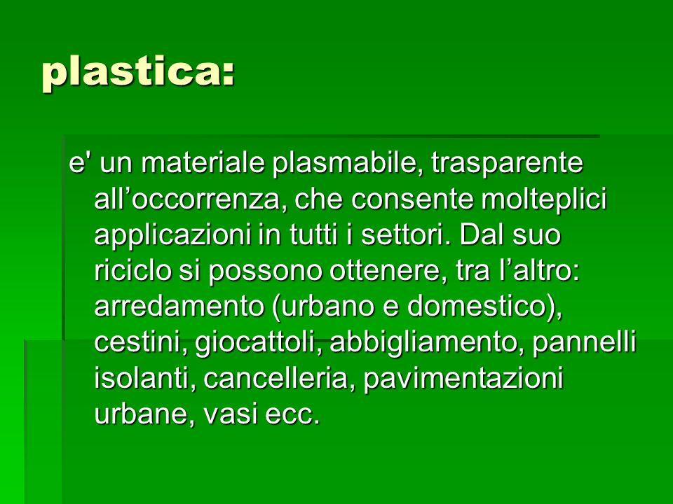 plastica: e' un materiale plasmabile, trasparente alloccorrenza, che consente molteplici applicazioni in tutti i settori. Dal suo riciclo si possono o