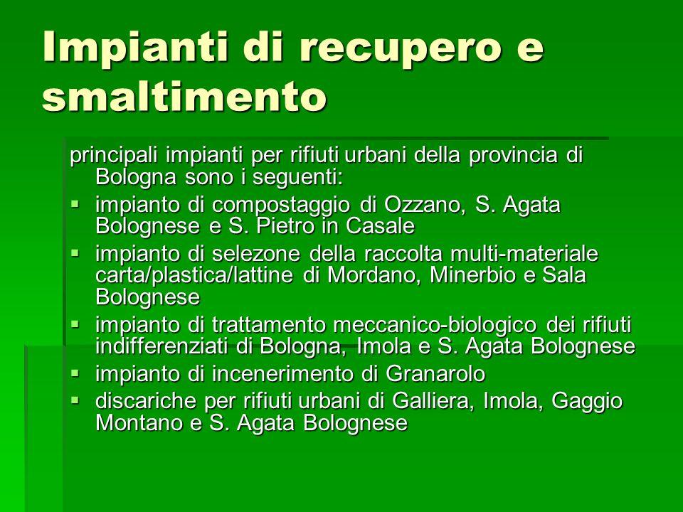 Impianti di recupero e smaltimento principali impianti per rifiuti urbani della provincia di Bologna sono i seguenti: impianto di compostaggio di Ozza