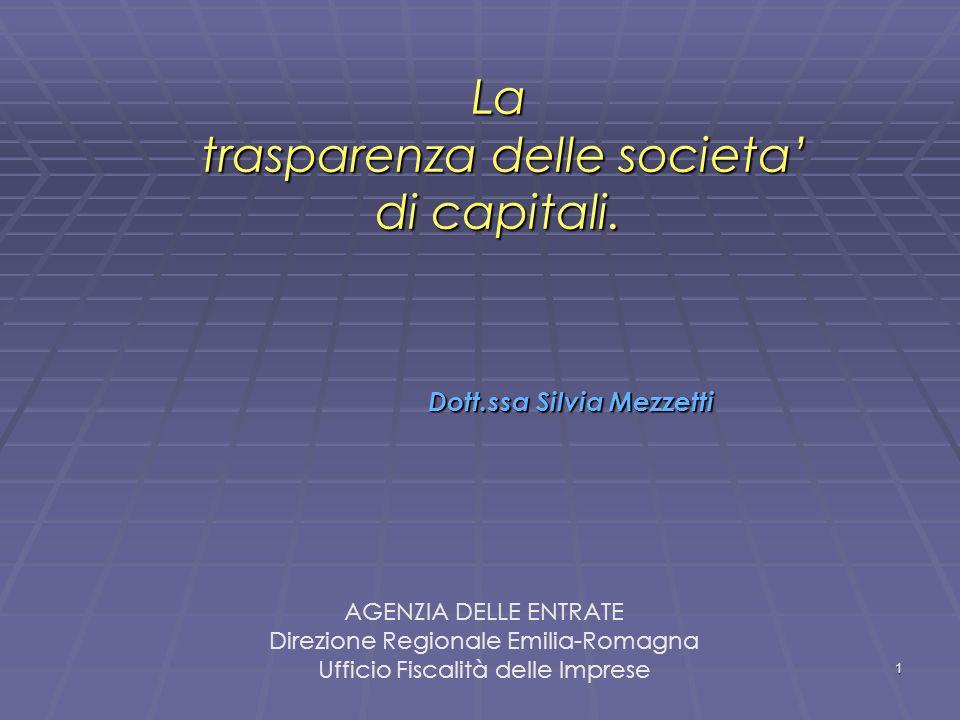 1 La trasparenza delle societa di capitali. La trasparenza delle societa di capitali. Dott.ssa Silvia Mezzetti AGENZIA DELLE ENTRATE Direzione Regiona