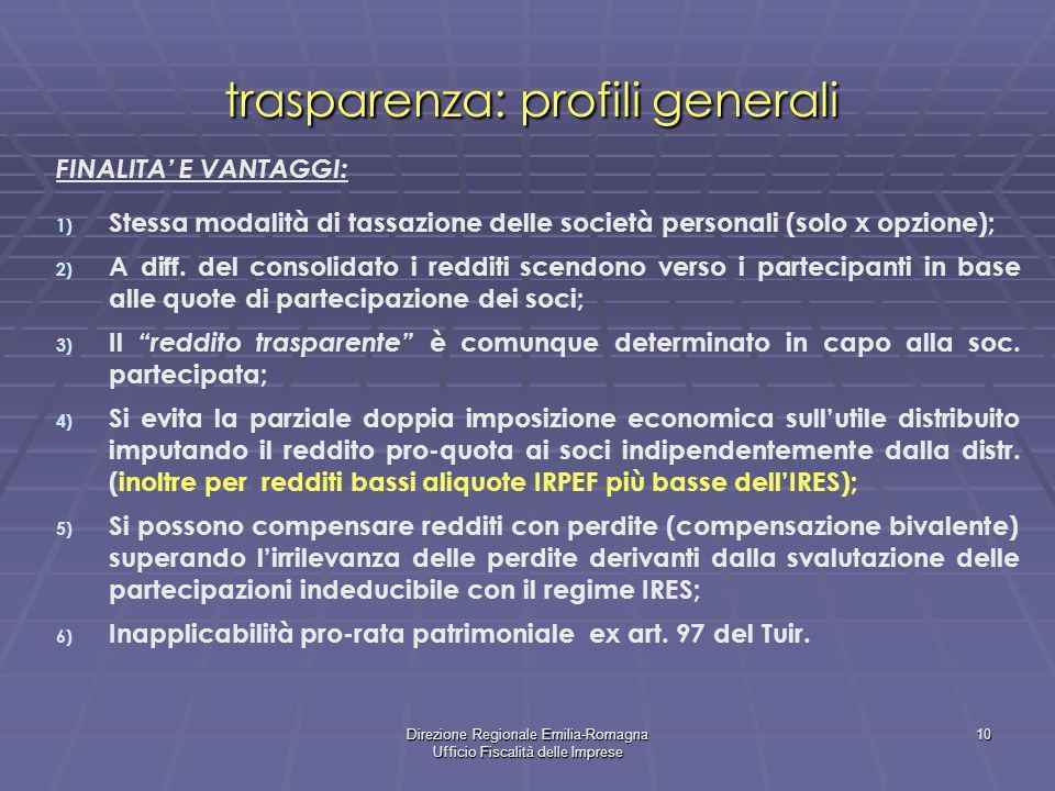 Direzione Regionale Emilia-Romagna Ufficio Fiscalità delle Imprese 10 trasparenza: profili generali FINALITA E VANTAGGI: 1) Stessa modalità di tassazi
