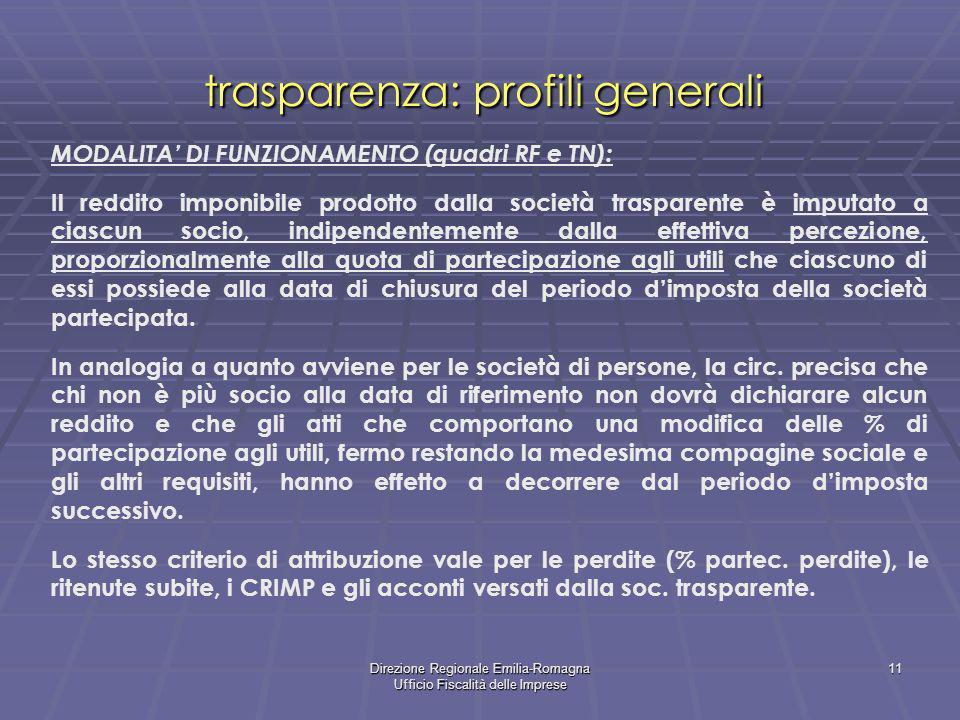 Direzione Regionale Emilia-Romagna Ufficio Fiscalità delle Imprese 11 trasparenza: profili generali MODALITA DI FUNZIONAMENTO (quadri RF e TN): Il red