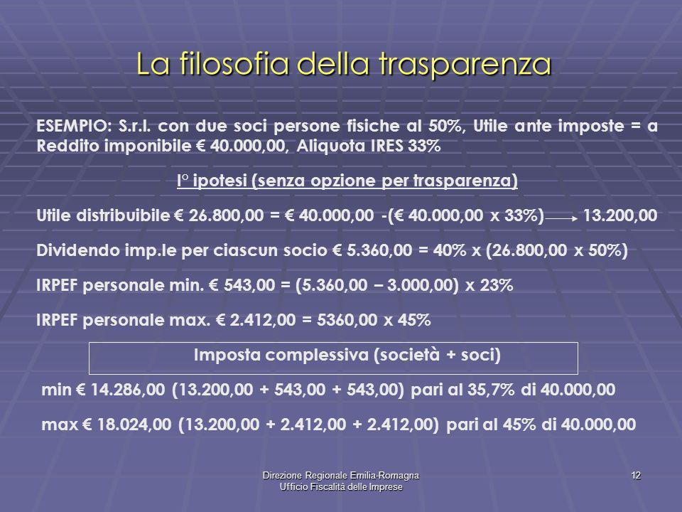 Direzione Regionale Emilia-Romagna Ufficio Fiscalità delle Imprese 12 La filosofia della trasparenza ESEMPIO: S.r.l. con due soci persone fisiche al 5