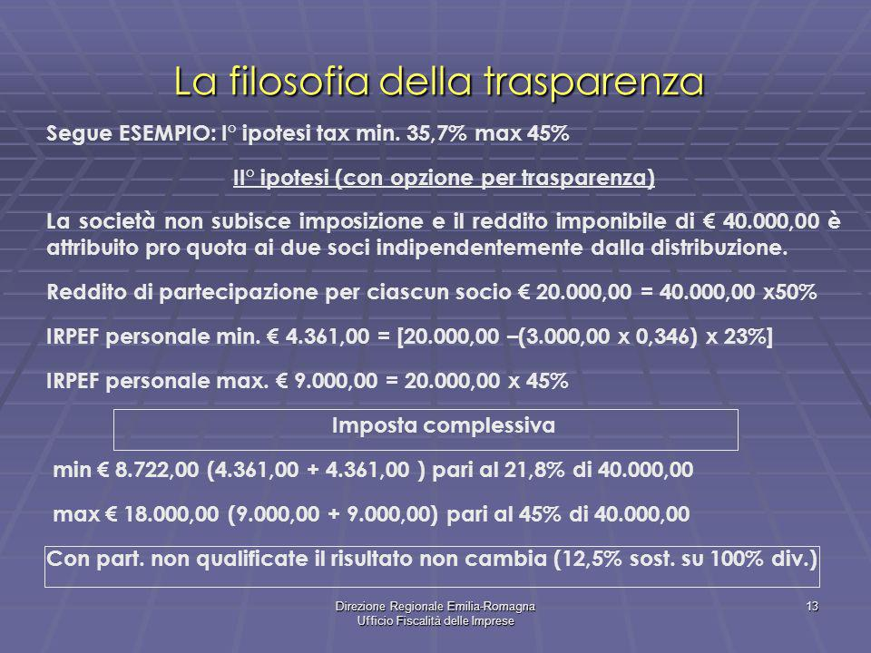 Direzione Regionale Emilia-Romagna Ufficio Fiscalità delle Imprese 13 La filosofia della trasparenza Segue ESEMPIO: I° ipotesi tax min. 35,7% max 45%