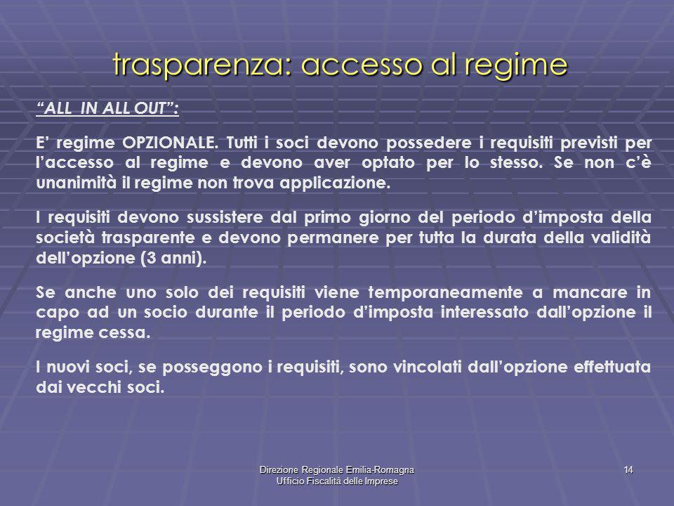 Direzione Regionale Emilia-Romagna Ufficio Fiscalità delle Imprese 14 trasparenza: accesso al regime ALL IN ALL OUT: E regime OPZIONALE. Tutti i soci