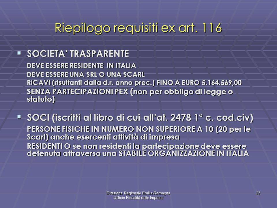 Direzione Regionale Emilia-Romagna Ufficio Fiscalità delle Imprese 23 Riepilogo requisiti ex art. 116 SOCIETA TRASPARENTE SOCIETA TRASPARENTE DEVE ESS