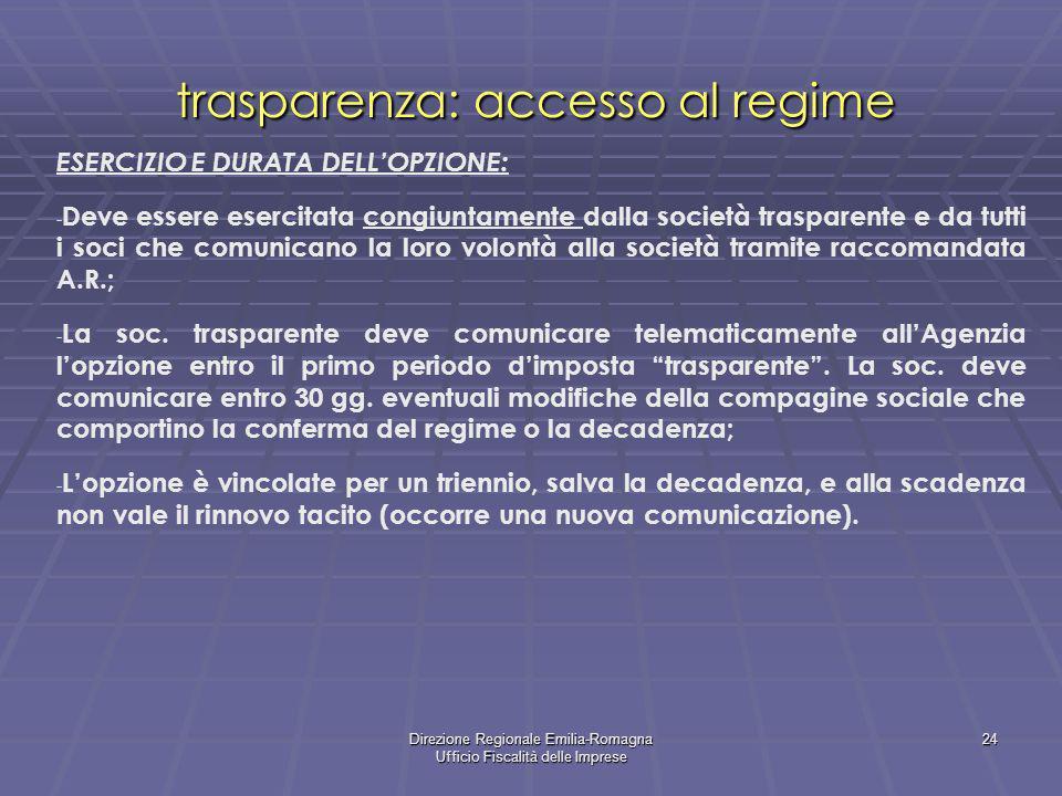 Direzione Regionale Emilia-Romagna Ufficio Fiscalità delle Imprese 24 trasparenza: accesso al regime ESERCIZIO E DURATA DELLOPZIONE: - Deve essere ese