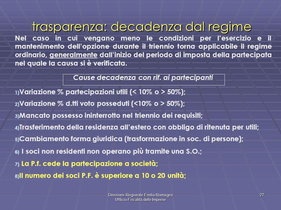 Direzione Regionale Emilia-Romagna Ufficio Fiscalità delle Imprese 27 trasparenza: decadenza dal regime Nel caso in cui vengano meno le condizioni per
