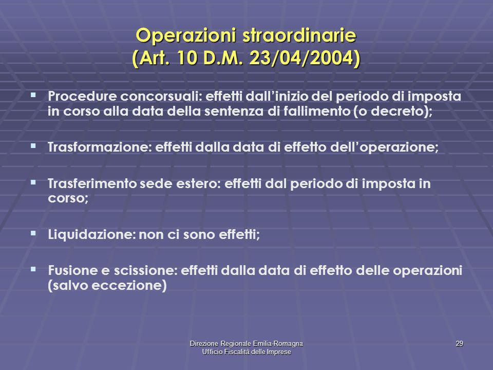 Direzione Regionale Emilia-Romagna Ufficio Fiscalità delle Imprese 29 Operazioni straordinarie (Art. 10 D.M. 23/04/2004) Procedure concorsuali: effett