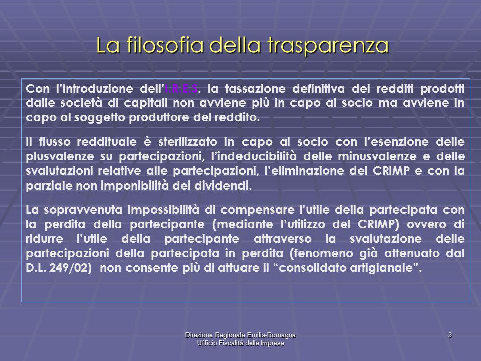 Direzione Regionale Emilia-Romagna Ufficio Fiscalità delle Imprese 3 La filosofia della trasparenza Con lintroduzione dellI.R.E.S. la tassazione defin