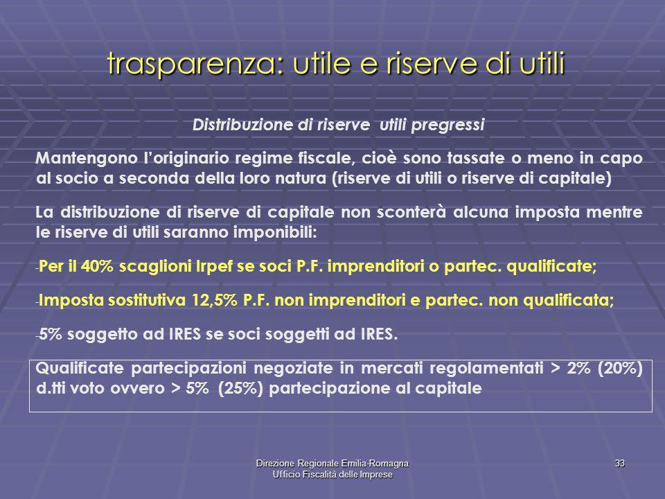 Direzione Regionale Emilia-Romagna Ufficio Fiscalità delle Imprese 33 trasparenza: utile e riserve di utili Distribuzione di riserve utili pregressi M