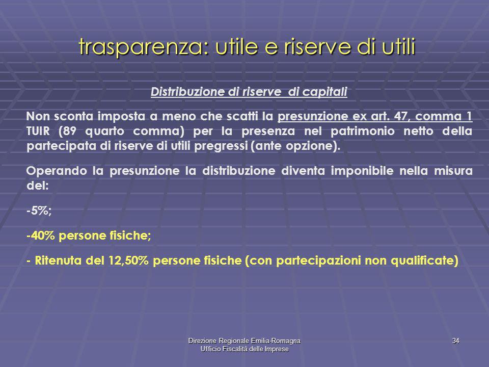 Direzione Regionale Emilia-Romagna Ufficio Fiscalità delle Imprese 34 trasparenza: utile e riserve di utili Distribuzione di riserve di capitali Non sconta imposta a meno che scatti la presunzione ex art.