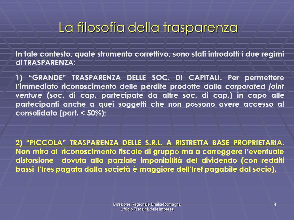 Direzione Regionale Emilia-Romagna Ufficio Fiscalità delle Imprese 4 La filosofia della trasparenza In tale contesto, quale strumento correttivo, sono stati introdotti i due regimi di TRASPARENZA: 1) GRANDE TRASPARENZA DELLE SOC.