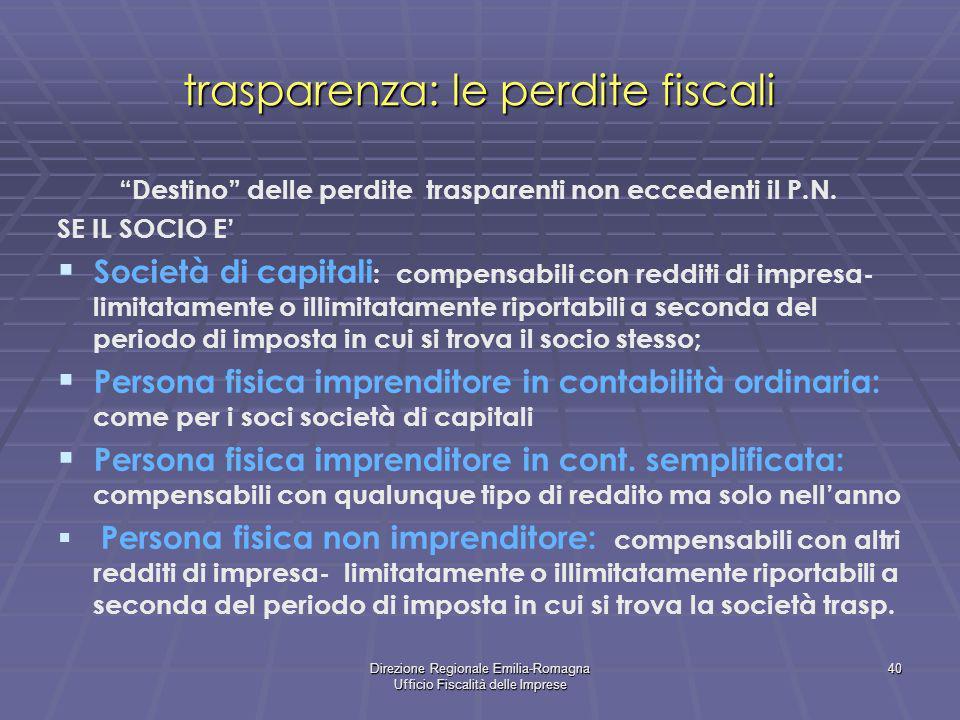 Direzione Regionale Emilia-Romagna Ufficio Fiscalità delle Imprese 40 trasparenza: le perdite fiscali Destino delle perdite trasparenti non eccedenti
