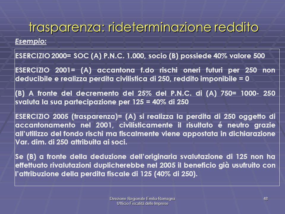 Direzione Regionale Emilia-Romagna Ufficio Fiscalità delle Imprese 48 trasparenza: rideterminazione reddito Esempio: ESERCIZIO 2000= SOC (A) P.N.C. 1.