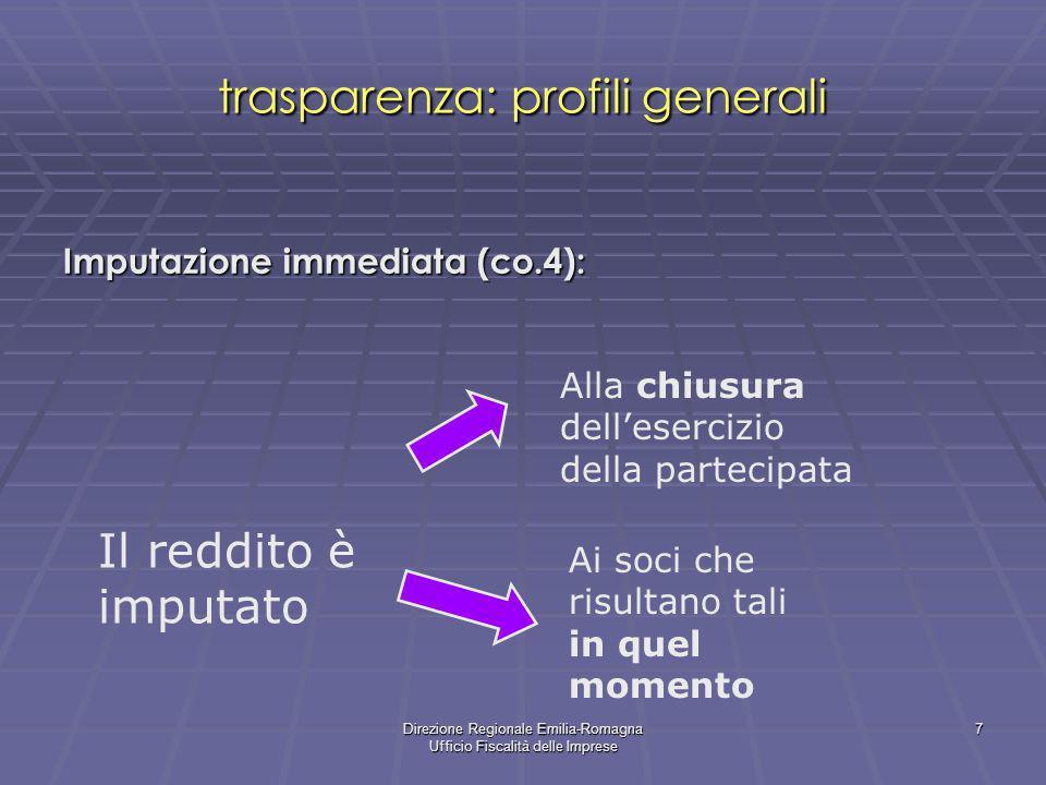 Direzione Regionale Emilia-Romagna Ufficio Fiscalità delle Imprese 7 trasparenza: profili generali Imputazione immediata (co.4): Il reddito è imputato