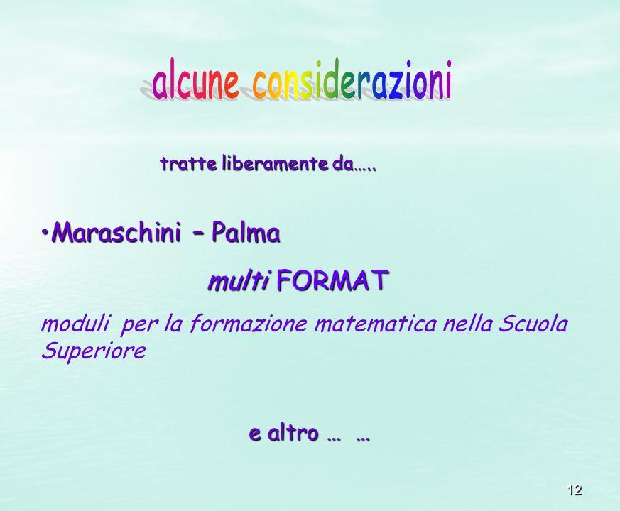 12 Maraschini – PalmaMaraschini – Palma multi FORMAT multi FORMAT moduli per la formazione matematica nella Scuola Superiore e altro … … e altro … … t