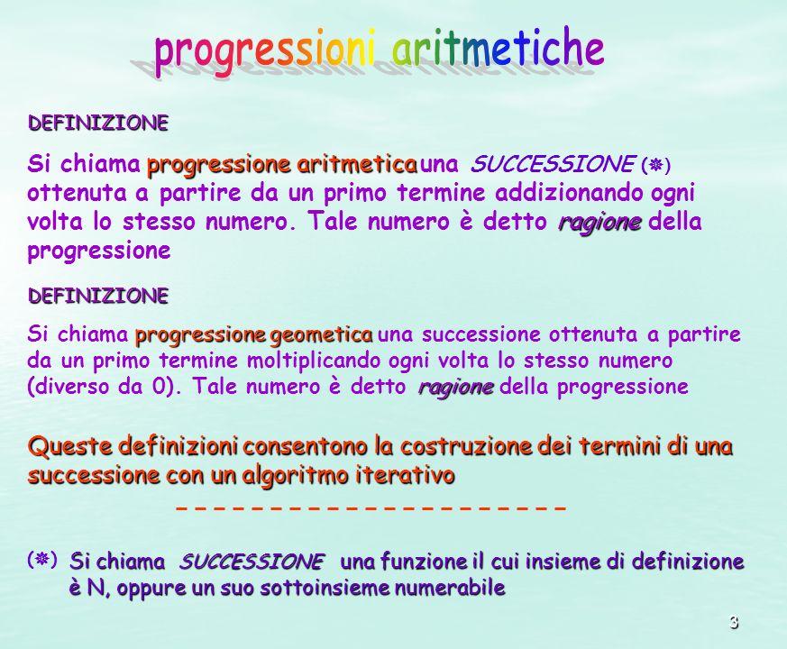 3 DEFINIZIONE progressione aritmetica ragione Si chiama progressione aritmetica una SUCCESSIONE ( ) ottenuta a partire da un primo termine addizionand