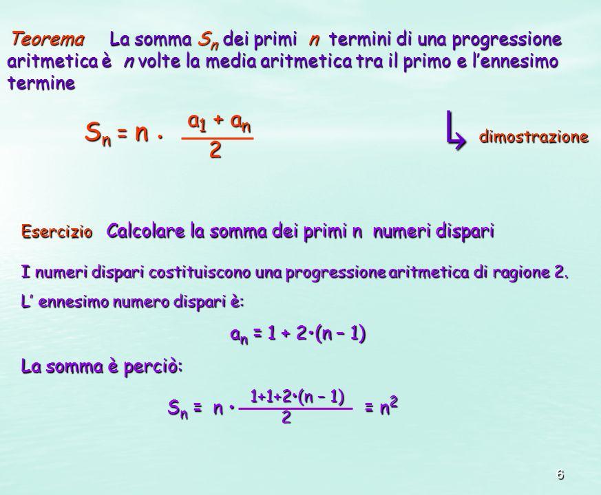 6 TeoremaLa somma S n dei primi n termini di una progressione aritmetica è n volte la media aritmetica tra il primo e lennesimo termine Teorema La som