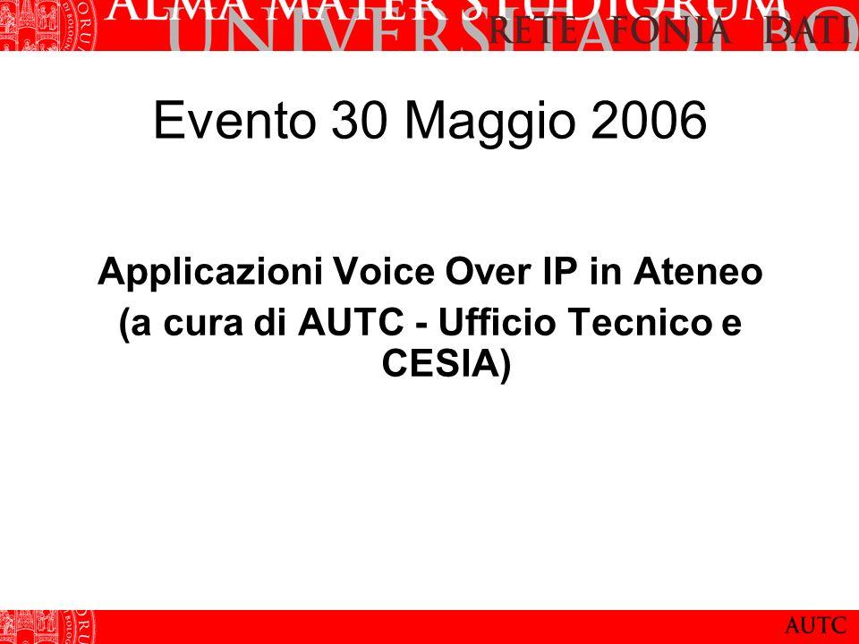 Evento 30 Maggio 2006 Applicazioni Voice Over IP in Ateneo (a cura di AUTC - Ufficio Tecnico e CESIA)