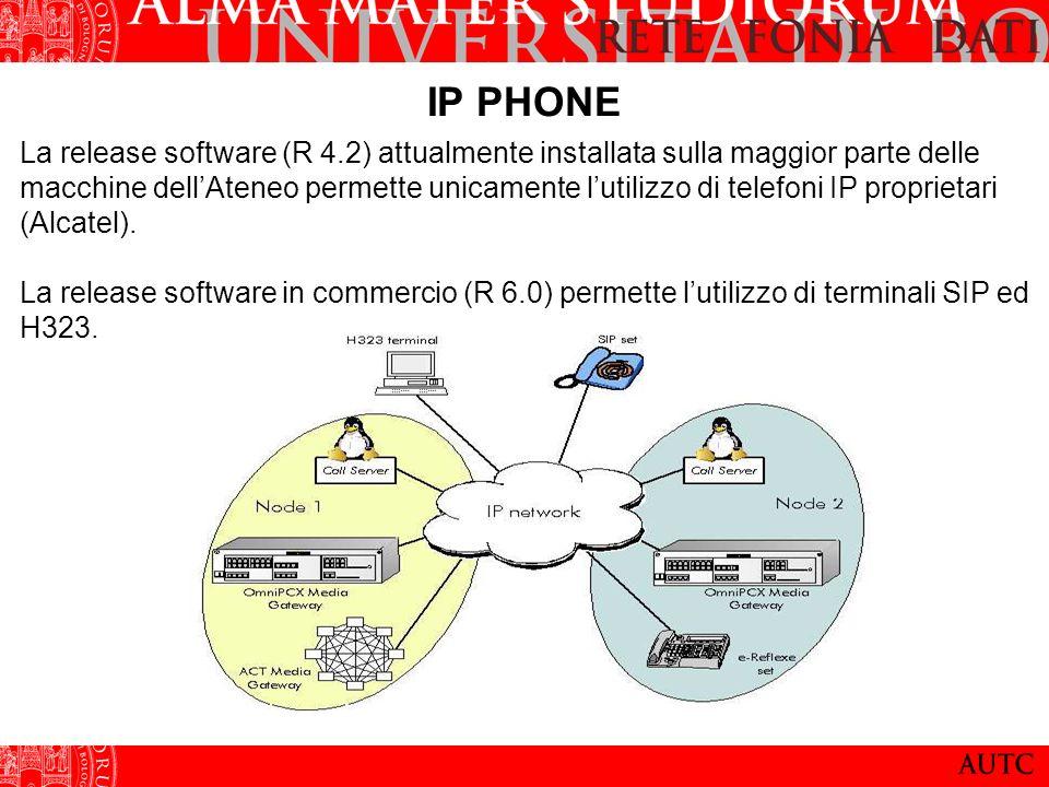 IP PHONE La release software (R 4.2) attualmente installata sulla maggior parte delle macchine dellAteneo permette unicamente lutilizzo di telefoni IP proprietari (Alcatel).