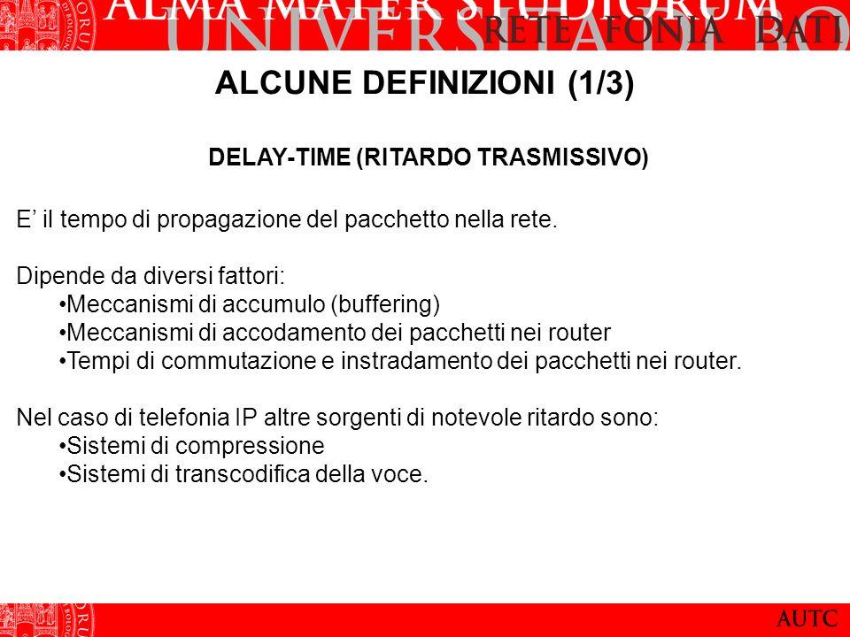 ALCUNE DEFINIZIONI (1/3) DELAY-TIME (RITARDO TRASMISSIVO) E il tempo di propagazione del pacchetto nella rete.