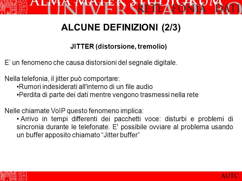 ALCUNE DEFINIZIONI (2/3) JITTER (distorsione, tremolio) E un fenomeno che causa distorsioni del segnale digitale. Nella telefonia, il jitter può compo